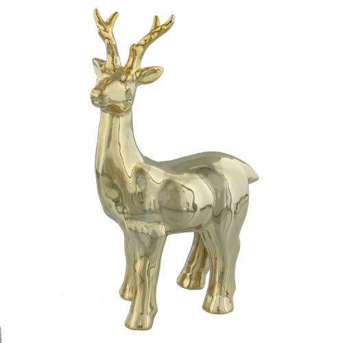 Gold Christmas Reindeer Ornament - Standing Ceramic Reindeer Decoration
